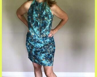 Batik Summer Sundress | Boho Dress | Turquoise Surfer Dress | Drawstring Neck Cotton Beach Dress Med/Sm | Cotton Shift Dress