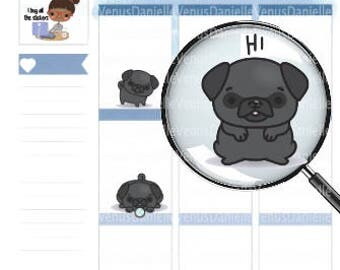 Black Pug Planner Stickers, Pug stickers, Dog Sticker, Pug, Black Pug Sticker