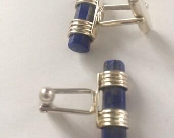 Lapis Lazuli  925 cuff links 20 x 6mm approx
