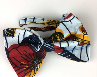 African Wax Print/Ankara Bow Tie with Adjustable Neck Band - (Ties, Bowtie, Formal, Casual, Accessories, Red, White, Yellow, Blue)