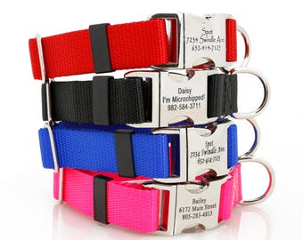 Metal Engraved Buckle Dog Collar - Personalized Customized Your Dog Name Address Phone Number Colorful Unique Dog Lover Gift Christmas Gift