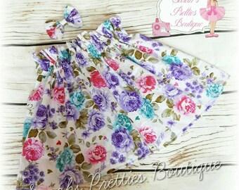 Floral girls ruffle high waisted skirt