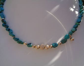 Turquoise necklace, in 585 gold filled, elegant design