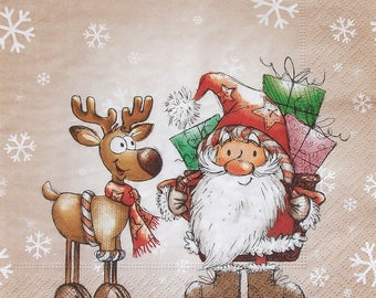 Set of 2 pcs 3-ply ''Santa Claus and the Moose'' paper napkins for Decoupage or collectibles 33x33cm, Winter napkins, Servetten, Decopatch