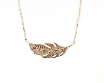 Feather necklace in silver or gold fill or.