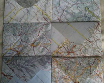 set of 6 handmade map envelopes. cartography, stationery, happy mail.