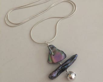 ONE-OFF Grey Biwa Pearl PENDANT necklace Sterling Silver with Abalone