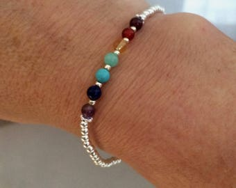 7 CHAKRA Bracelet Sterling Silver tiny gemstone bead Bracelet 4mm small beaded stretch Bracelet YOGA bracelet Chakra jewelry Boho jewellery