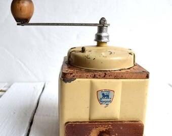 25% SALE French Vintage Peugeot Freres Cream Metal Enamel Coffee Grinder/Mill