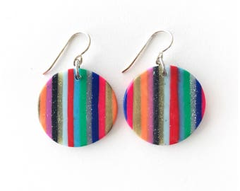 Striped circle earrings - handmade with polymer clay and sterling silver ear wire