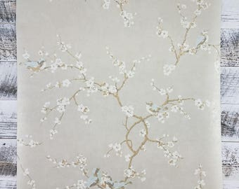 Birds and Blossoms on Silvery Gray Wallpaper  HP0325 - Sold by the Yard