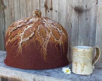 Brown Felt Tea Pot Cosy, Felted Teacozy, BrownTea Pot Warmer, Brown Felt Teapot Cover