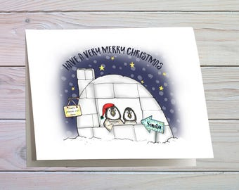 Penguin christmas card, christmas card of 2 penguins, baby penguin christmas card, fun greeting card for your children, card to kids