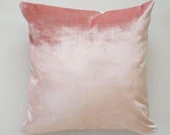 16x16 Blush Velvet Pillow Cover, pink velvet throw pillow, pink velvet pillow, velvet decorative pillow cover, light pink velvet cover