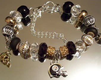 PITTSBURGH STEELERS Bracelet, HOBBEEdesigns, Free Shipping, NFL, Football, Sports, Gold, Black
