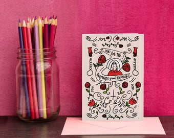 Handmaid's Tale Card - Free UK Delivery - Illustrated Card With Quote From Handmaid's Tale - A6 Card With C6 Envelope - By Holly Mac Draws