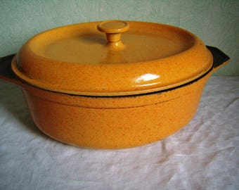 Large yellow-orange enameled cast iron pan, 28 cm, roaster or Dutch oven with lid, french kitchen utensil, Made in France