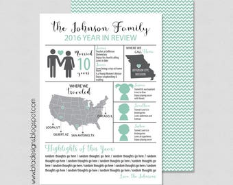 Year in Review Infographic Card, Christmas Card, Holiday Card, New Year's Card, Digital Design, Holiday Card #2