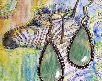 925 Stamped Green Amazonite Earrings