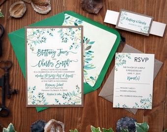 Rustic Nature Green Wedding Invitation, Green Leaf Wedding Invitation, Modern Custom Made Wedding Invitation, Marriage Invite - SAMPLE