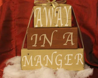 Wood pallet sign - Away In A Manger - Home Decor