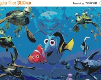 "Finding dory nemo Counted Cross Stitch nemo Pattern chart pdf needlepoint needlework Kräiz Stitch - 19.71"" x 13.14"" - L1009"