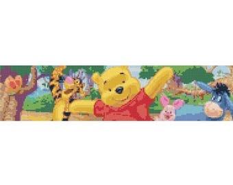 "winnie the pooh Counted Cross Stitch Pattern needlepoint needlecraft bookmark pattern - aida 24 count - 1.88"" x 7.88"" - L467"