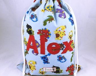 Personalised Blue PE Bag, Children's PE Kit Bag, Waterproof Swim Bag, Dinosaur Named School Bag, PE Kit, Nursery Bag, Water Resistant Bag