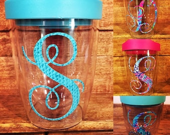 Acrylic Wine Tumblers with Lid, Monogrammed