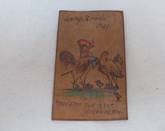 Antique Leather Post Card - Vintage Leather Post Card