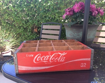 Vintage 1973 Red Coca-Cola Soda Crate with 12 Dividers