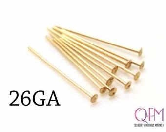 50pcs 14K Gold Filled Head Pins Flat Head, Nail Head Pin, 0.4mm, 26 Gauge, Earrings Supplies, Gold Filled Jewelry, Headpins, GF Supplies