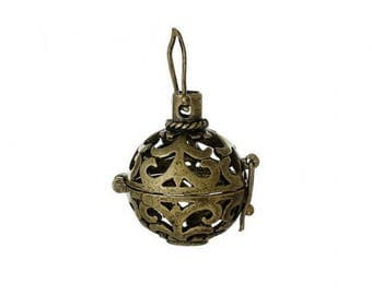 2 charms Bronze bead 16mm harmony ball cage