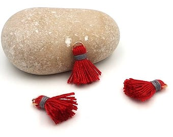 10 charms tassels 18mm red color