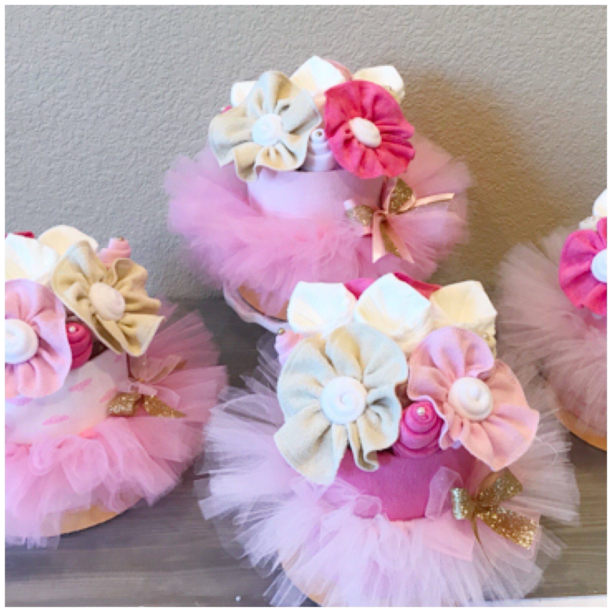 Pink tutu ballerina baby shower centerpieces and