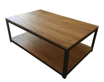 Solid oak and steel coffee table