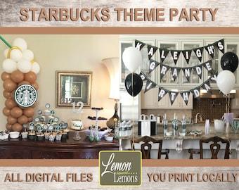 Starbucks Theme Birthday Party Set, Bridal Shower, Baby Shower, Chalkboard Design - Printable Party Items