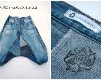 Sarouel taille XXL en patchwork de jeans recyclés (confection sur mesure), sarouel pour femme ou homme, jean XXL, mode écologique