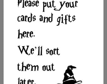 PRINTABLE 8x10 Harry Potter Please Put Your Cards & Gifts Here We'll Sort Them Out Later SIGN