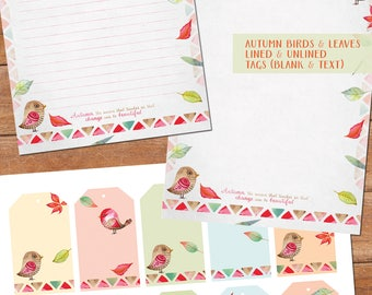 Autumn pack#3 - printable writing paper - A5 size - plus matching tags - birds & leaves