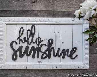 SALE!!!  Finished Reclaimed Wood White and Black Hello Sunshine Sign | Typography |
