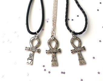 Silver ankh necklace - Egyptian jewellery - 3 chain length options - symbolic necklace - gift for her