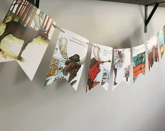 If You Give A Moose A Muffin book page banner bunting garland decoration