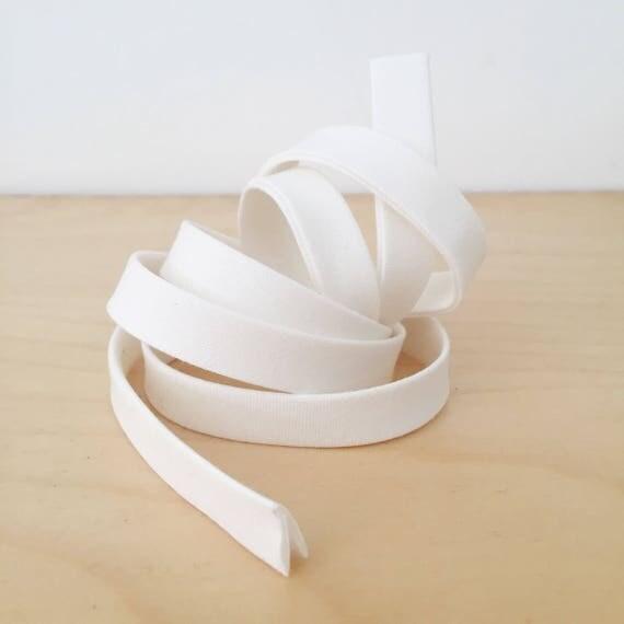 "Bias Tape in Kona Snow white cotton 1/2"" double-fold binding- 3 yard roll"