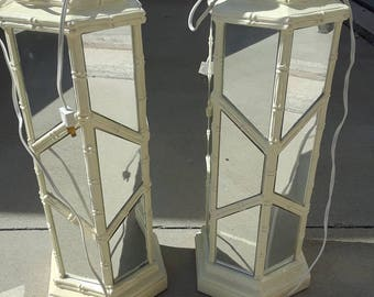 Hollywood Regency Faux Bamboo Mirrored Lamp