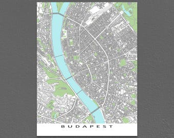 Budapest Map, Budapest Hungary Map Art Print, City Poster