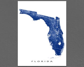 Florida Map, Florida State Art Print, USA State Outline Maps