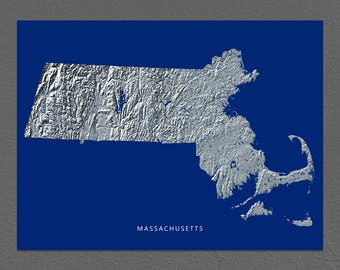 Massachusetts Map, Massachusetts Wall Art, MA State Art Print, Landscape, Navy Blue