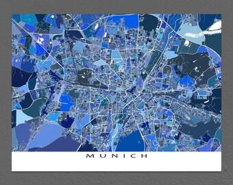 Munich Map Print, Munich Germany, Travel Map, City Map Art, Munchen