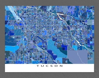 Tucson Art Map Print, Map of Tucson Arizona USA, City Map